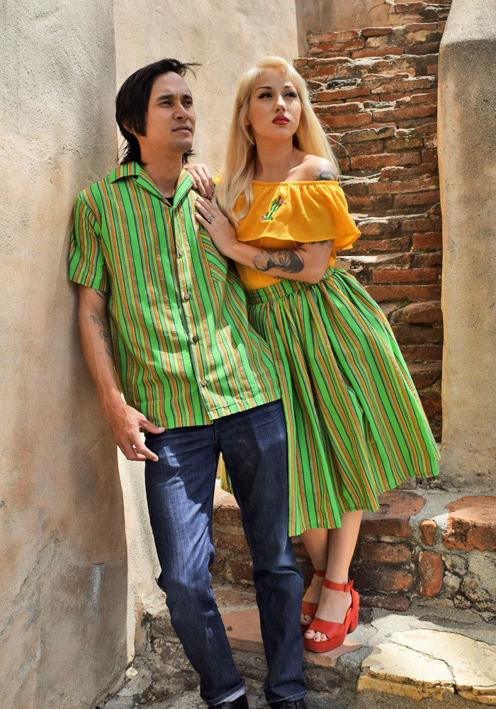 """Final Sale"" Lurex Serape Stripe Paradise Button-Up Shirt in Green"