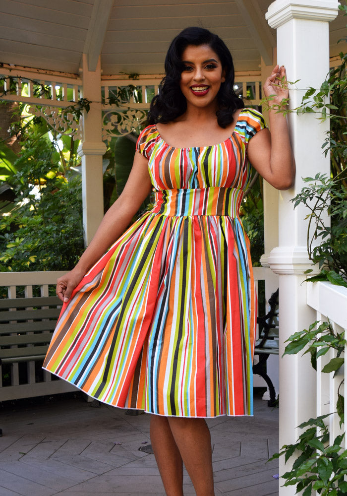 b59fc3f84e1a Retro Boardwalk Beach Stripes Peggy Peasant Swing Dress – ACLASSICPARADISE