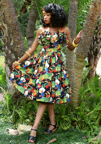 """Final Sale"" Havana Hibiscus Jinger Sweetheart Dress"