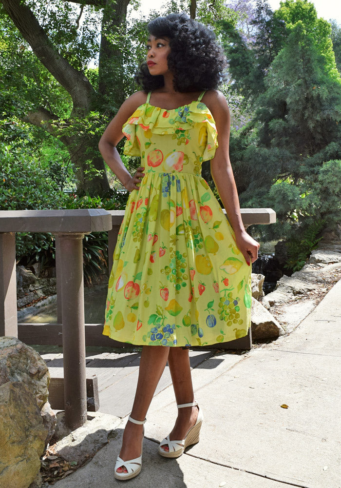 "Tropical ""Vintage Fruit Salad"" Cha Cha Ruffle Dress"