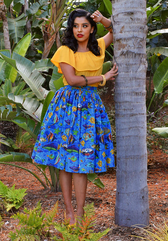 """Final Sale"" Tropical Fish Retro Peggy Peasant Swing Dress, in Royal Blue"
