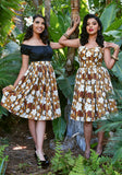 Abstract Havana Hibiscus Deluxe Beverly Gathered Skirt in Tobacco