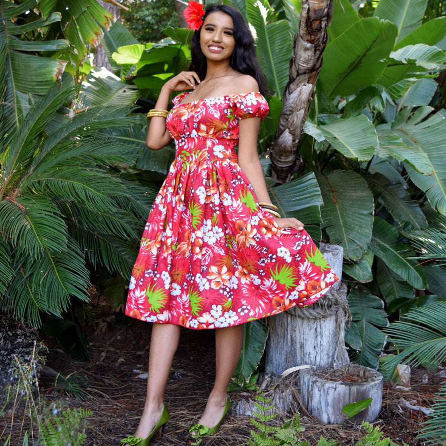 Tropical Floral Retro Peggy Peasant Swing Dress, in Red