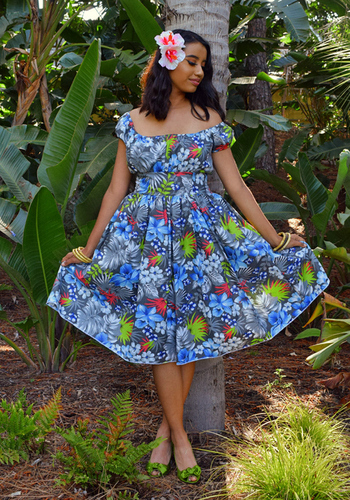 """Final Sale"" Tropical Floral Retro Peggy Peasant Swing Dress, in Grey"