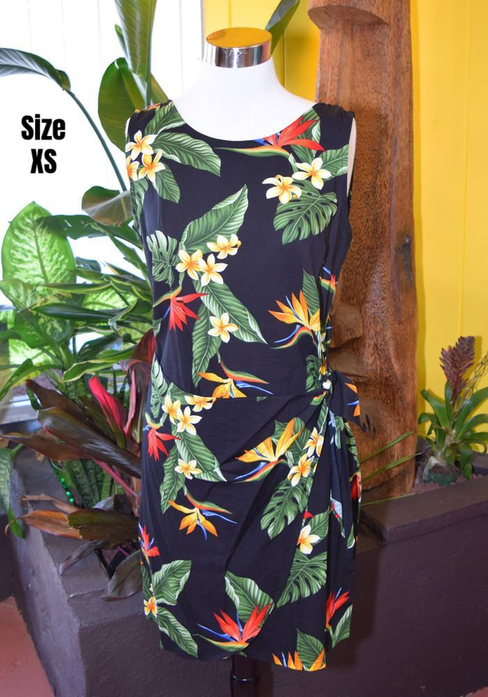 Birds of Paradise Authentic Hawaiian Vacation Sarong Dress in Black