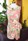 Hibiscus Floral Smoothie Authentic Hawaiian Vacation Sarong Dress in Coral