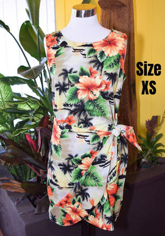 """Final Sale"" Tropical Floral Sonia Sarong Dress in Gray"