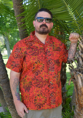 """Final Sale"" Abstract Havana Hibiscus Paradise Button-Up Shirt in Tobacco"