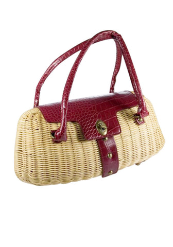 Sophia PinUp Wicker Handbag, in Lime Sherbert