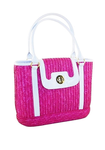 Sophia PinUp Wicker Handbag, in Orange Sherbert