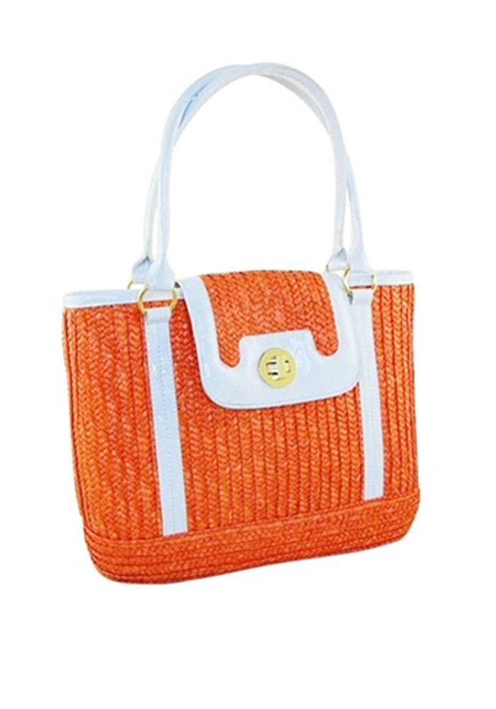 """Final Sale"" Sophia PinUp Wicker Handbag, in Orange Sherbert"
