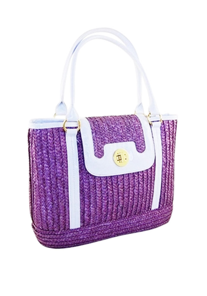 Sophia PinUp Wicker Handbag, Purple Grape