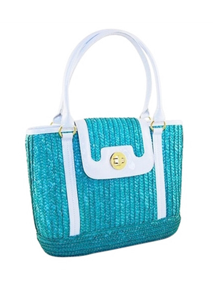Sophia PinUp Wicker Handbag in, Candy Turquoise