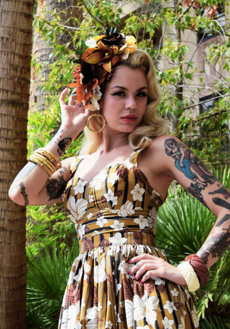 """Final Sale"" Wild Tiger Beverly Gathered Tiki Skirt"