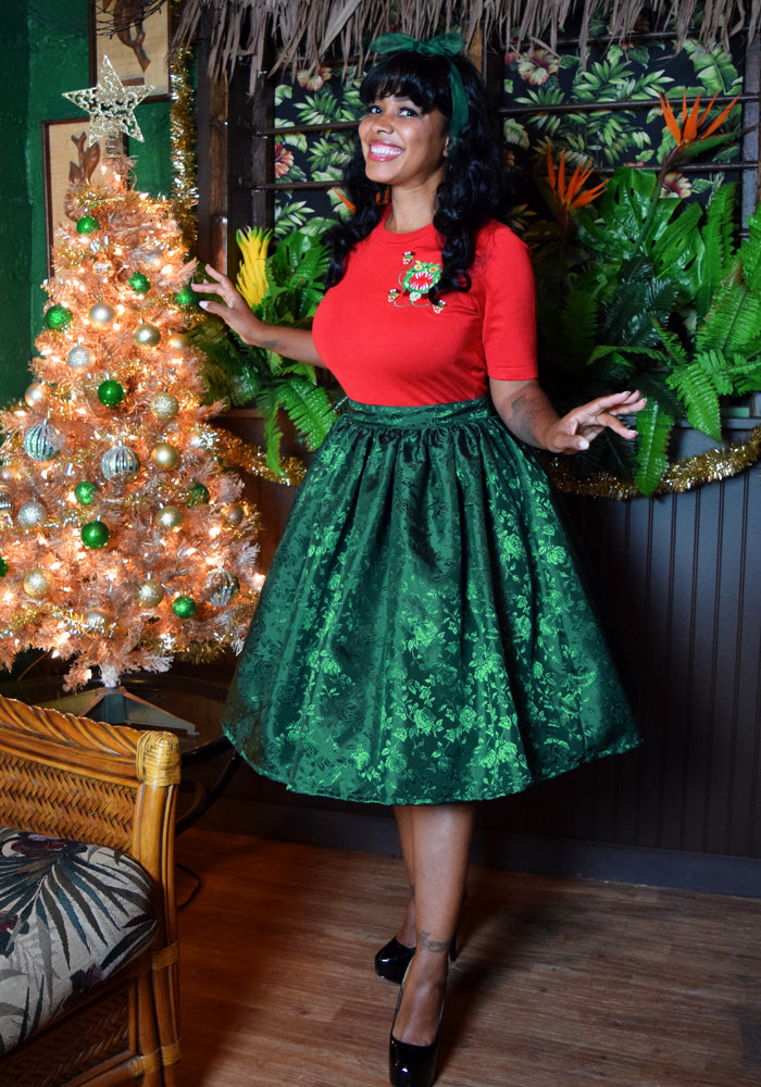 Temptress Rose Deluxe Beverly Gathered Skirt in Emerald Green