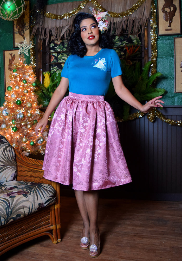 """Final Sale"" Temptress Rose Deluxe Beverly Gathered Skirt in Dusty Pink"