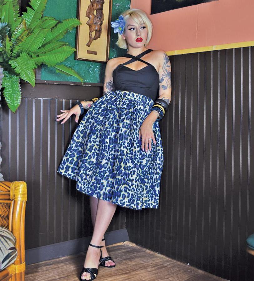"""Final Sale"" Jungle Leopard Deluxe Beverly Gathered Skirt in Blue"