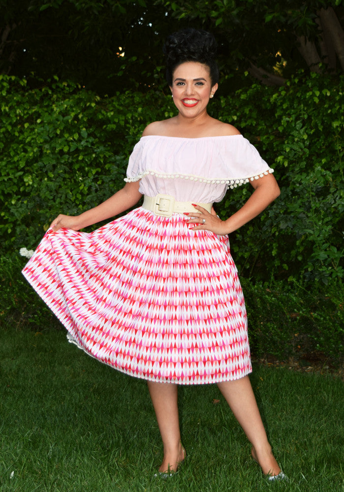 """Final Sale"" Harlequin Dapper Diamonds Beverly Gathered Skirt in Pink"