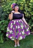 Plumeria Palm Deluxe Beverly Gathered Tiki Skirt in Purple
