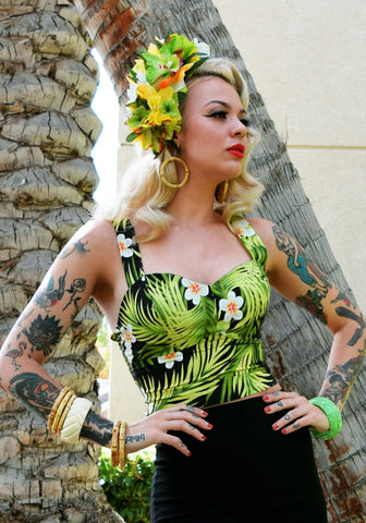 Abstract Havana Hibiscus Deluxe Beverly Gathered Tiki Skirt in Tobacco