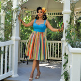 Retro Boardwalk Beach Striped Deluxe Beverly Gathered Skirt