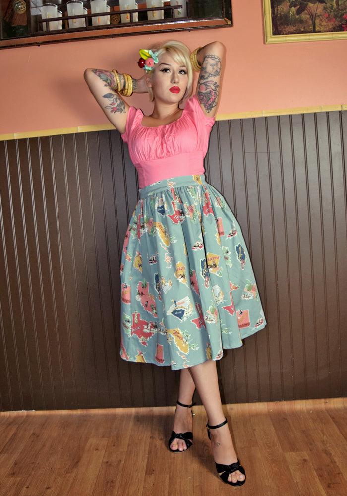 Greetings From... Deluxe Beverly Gathered Skirt in Dusty Blue