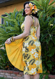 Wild Plumeria Sonia Sarong Dress in Yellow