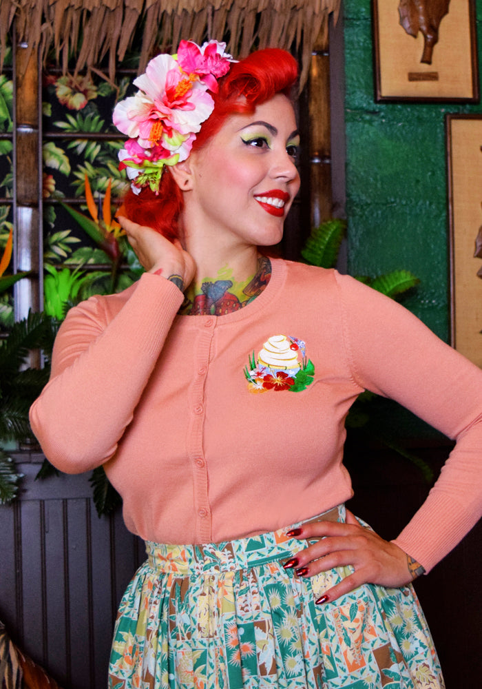 "Tropical Treat ""Dole Whip"" Embroidered Cardigan in Peach"
