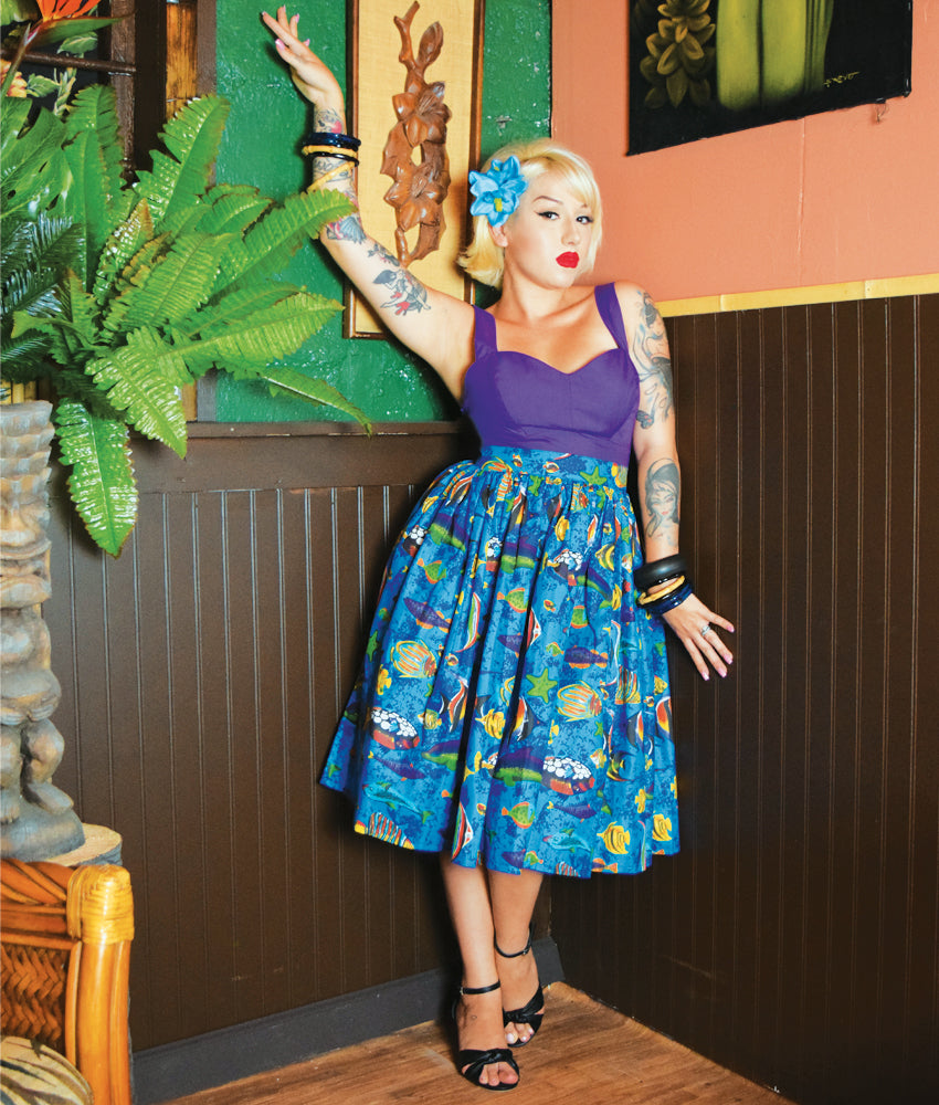 Tropical Fish Deluxe Beverly Gathered Tiki Skirt in Royal Blue