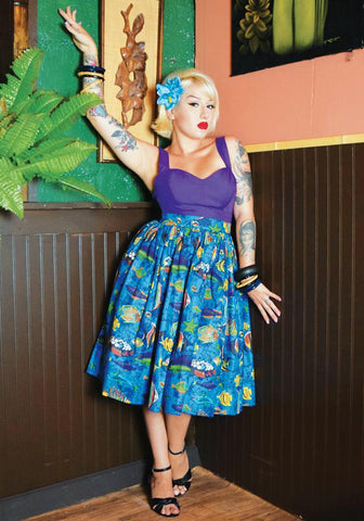 Jungle Leopard Deluxe Beverly Gathered Skirt in Blue