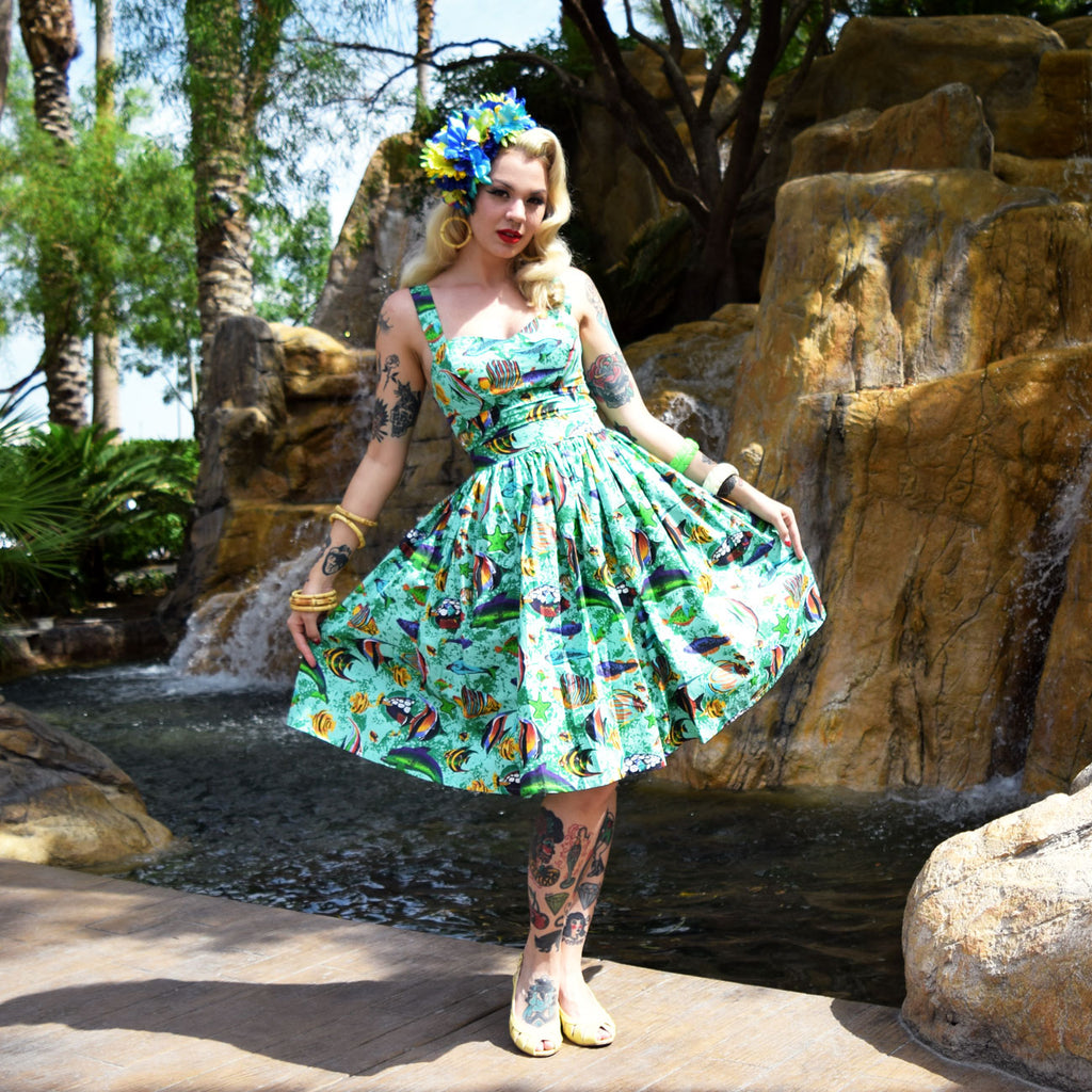 """Final Sale"" Tropical Fish Deluxe Beverly Gathered Skirt in Aqua"