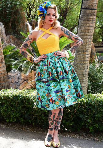 Plumeria Passion Beverly Gathered Skirt in Black