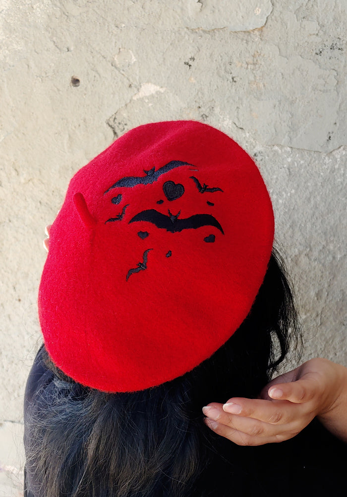 Love Bats Embroidered Beret Hat in Red