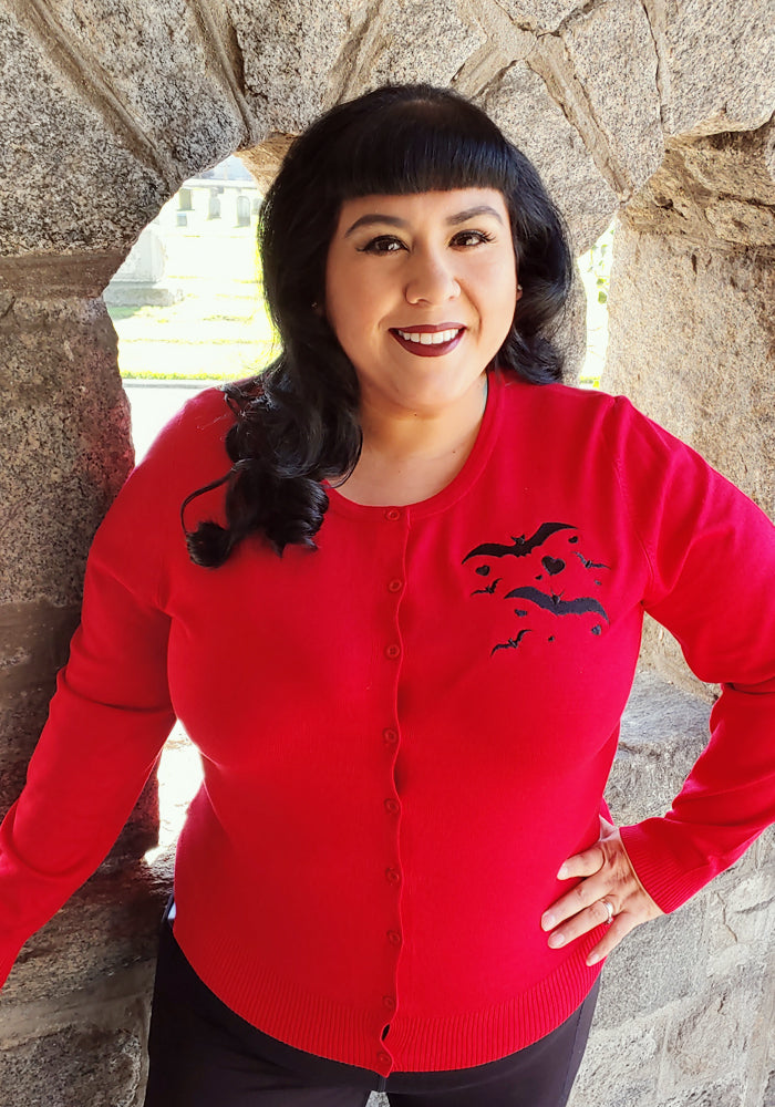Love Bats Embroidered Cardigan in Red
