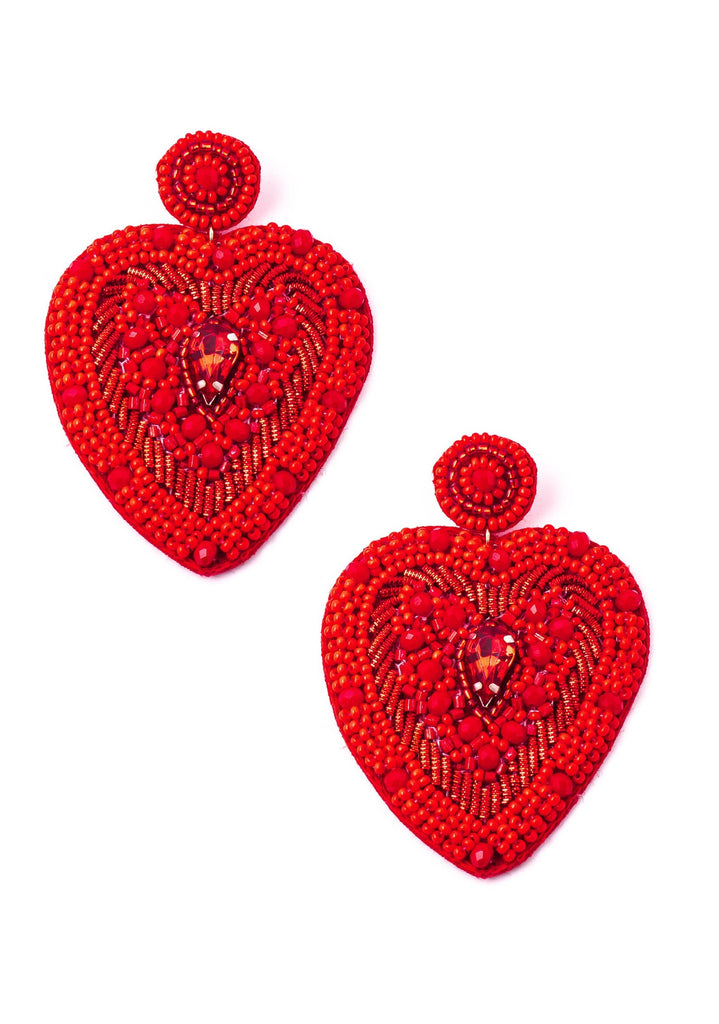 Beaded Sacred Heart Earrings