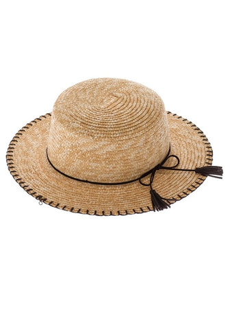 Straw Panama Hat with Fringe
