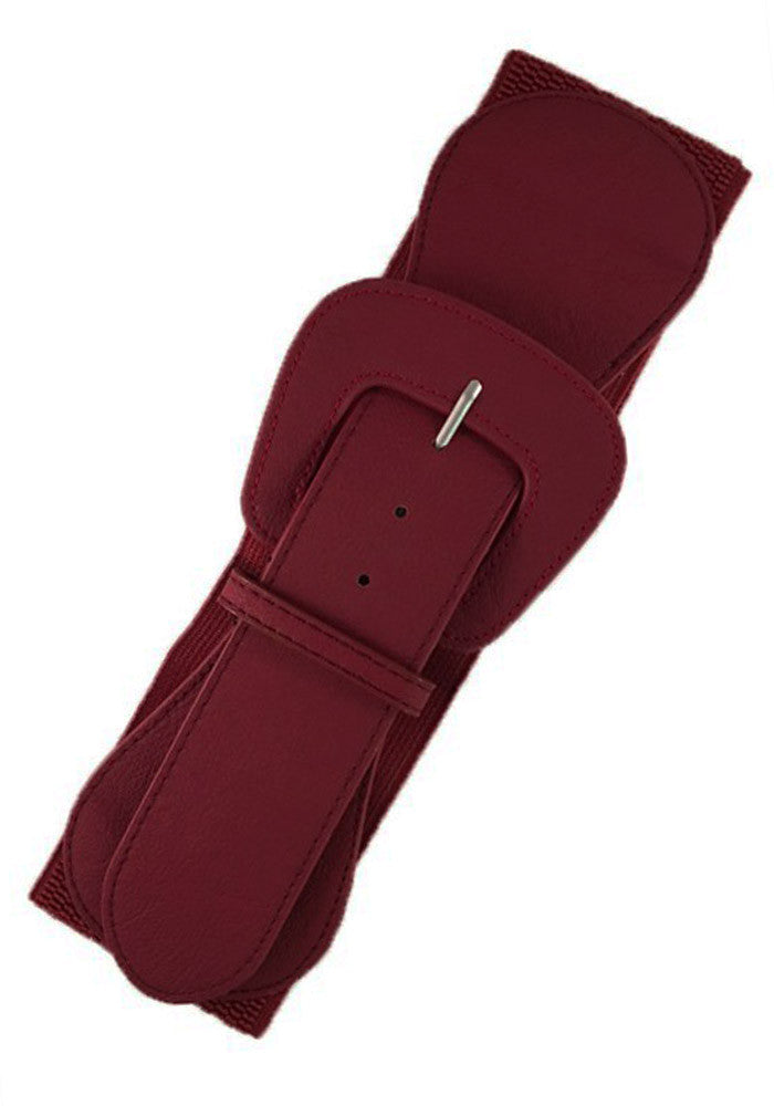 Faux Leather Elastic Cinch Belt, Burgundy