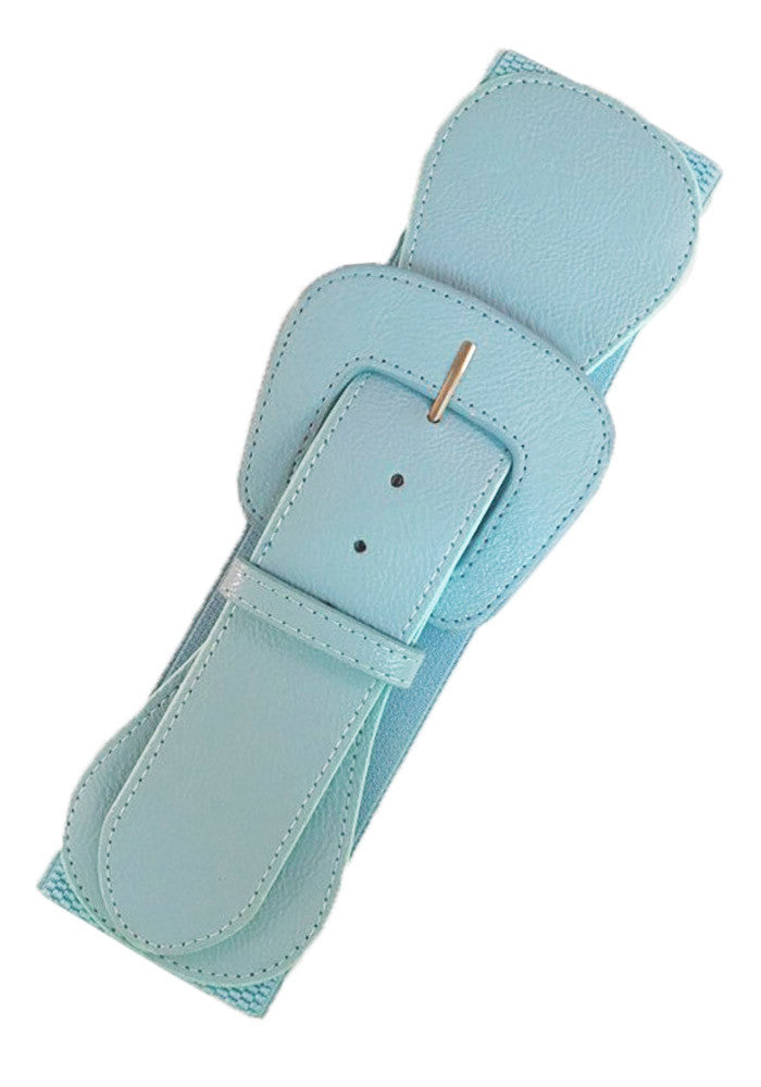Faux Leather Elastic Cinch Belt, Sky Blue
