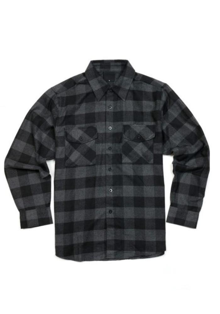 Men's Plaid Flannel Shirt in Charcoal