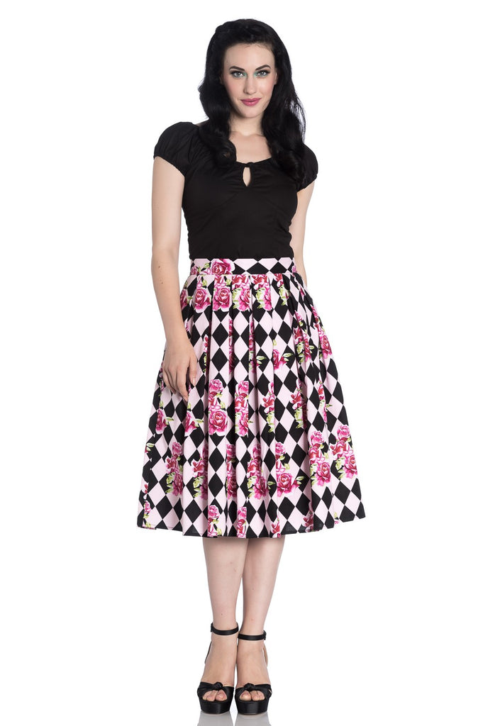 """Final Sale"" Harlequin Floral 50's Swing Skirt"