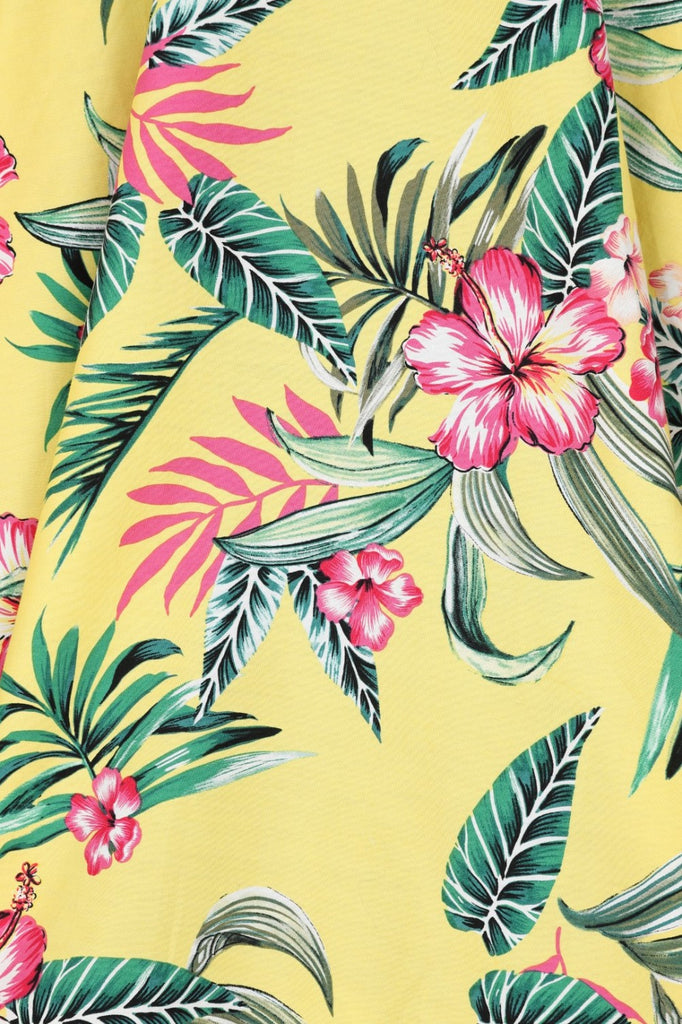"""Pre-Order"" Kalani Tropical Floral Print Skirt in Yellow"