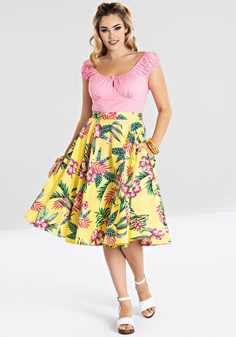 """Pre-Order"" Noa Noa Tropical Tiki Floral Print Gathered Skirt"
