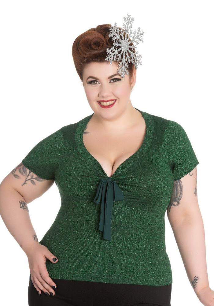 Angette Lurex Top, in Green