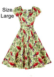 Unique Parrots 1950s Classic Swing Dress
