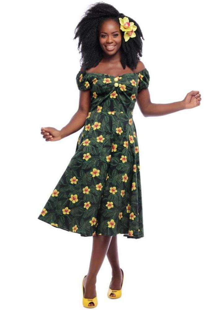Tropical Hibiscus Print Dolores Doll Dress