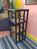 Dark Brown Rattan Wicker Tiki Boho Style Shelf
