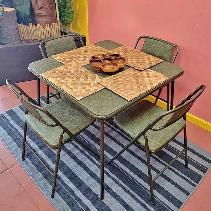 Rare Green Vintage Cosco Metal Folding Car Table and Set of 4 Folding Chairs
