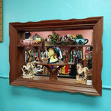 Vintage Wooden Shadow Box with Mirror Display