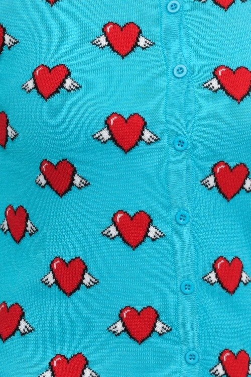 """Love Is In The Air"" Retro Heart Cardigan"