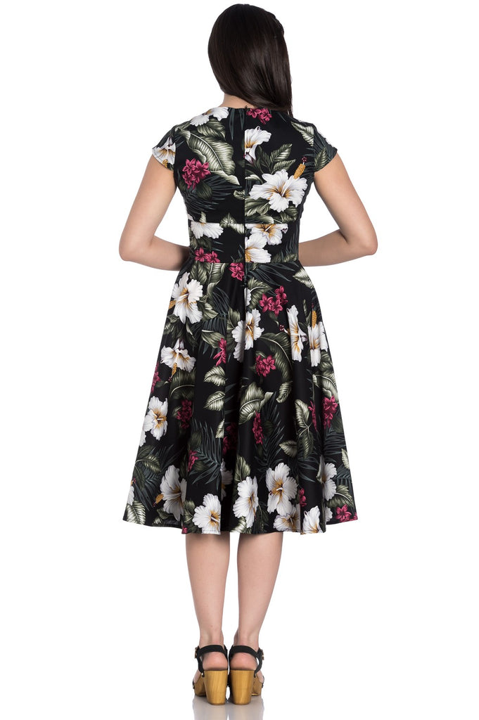Kalei 50s Tropical Floral Dress in Black